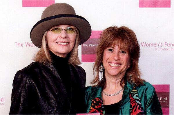 Diane Keaton and Sally Fingerett at fundraiser